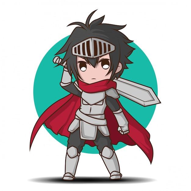 騎士の衣装漫画でかわいい男の子 Premiumベクター