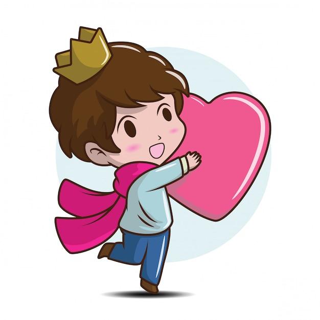 Милый маленький принц обнимите сердце., концепция шаржа сказки. Premium векторы