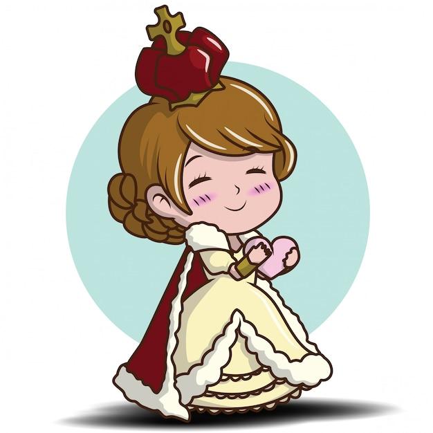 女王を着てかわいい女の子 Premiumベクター
