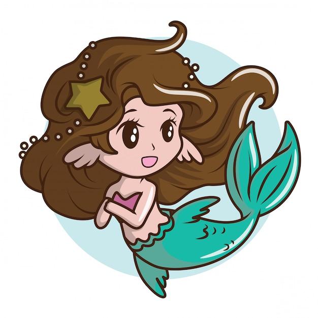 かわいい女の子のコスチューム、人魚。、おとぎ話の漫画のコンセプト。 Premiumベクター