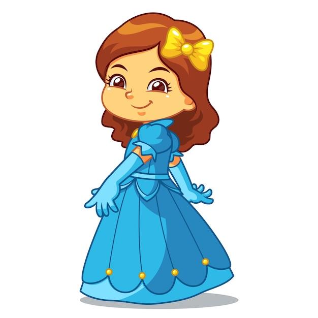 Девушка одета как принцесса в голубое платье. Premium векторы