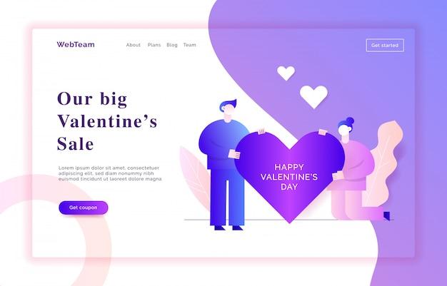 День святого валентина веб баннер иллюстрации Premium векторы