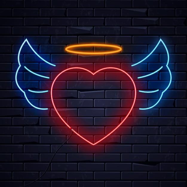 Неоновое сердце с подсветкой Premium векторы