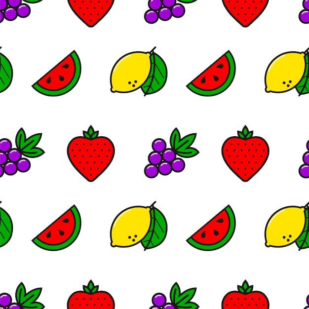Казино фрукты стиль линии бесшовные модели Premium векторы