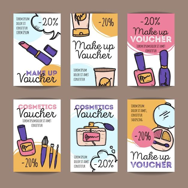 Набор купонов на скидку для макияжа Premium векторы