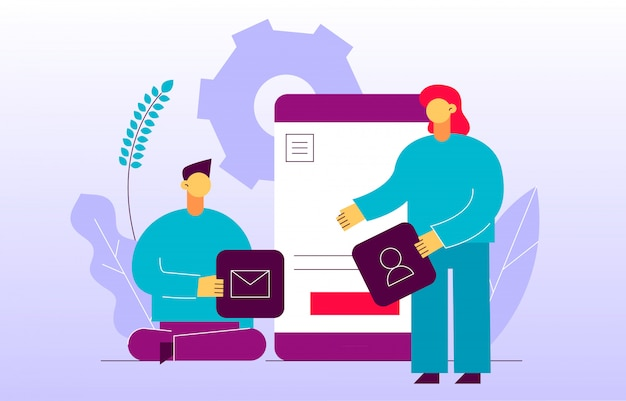 ベクトルモバイルアプリケーションまたはウェブサイト開発プロセス Premiumベクター