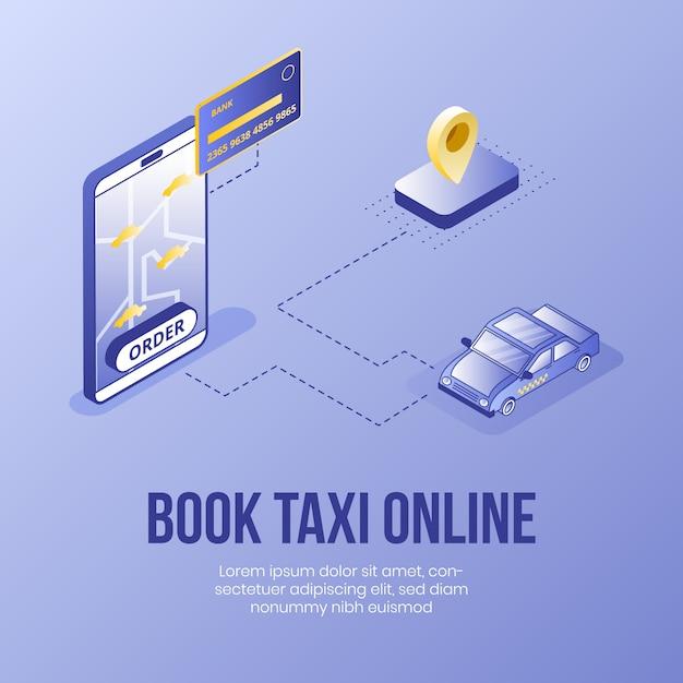 オンラインでタクシーを予約。デジタル等尺性デザインコンセプト Premiumベクター