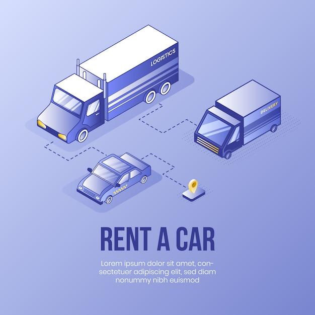 車を借りる。デジタル等尺性デザインコンセプト Premiumベクター