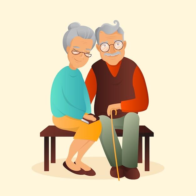 Старая пара иллюстрации. дедушка и бабушка милые персонажи. Premium векторы