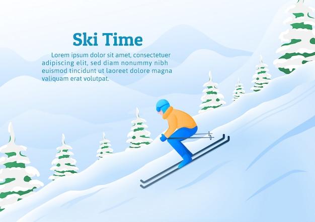 冬のスポーツ活動、山のリゾートでスキーをする男性。 Premiumベクター