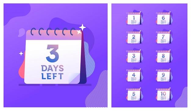 Количество дней осталось шаблон иллюстрации обратного отсчета, можно использовать для продвижения, продажи, целевой страницы, шаблон, пользовательский интерфейс, веб, мобильное приложение, плакат, баннер, флаер Premium векторы