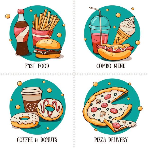 Круглые наклейки с меню быстрого питания для кафе в стиле каракули Premium векторы