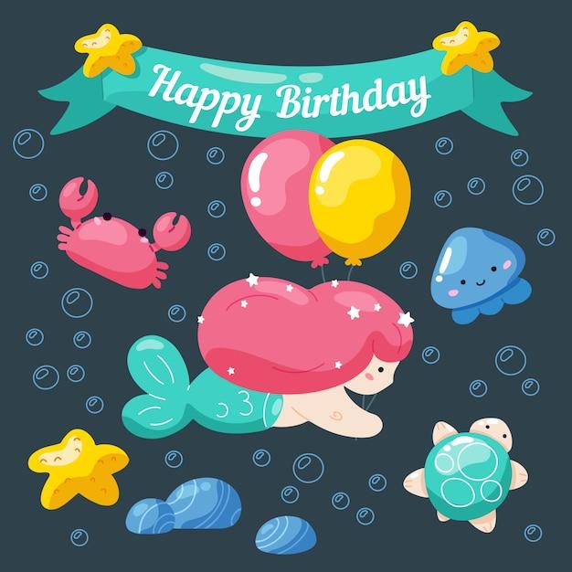 かわいい人魚と海洋生物の子供の誕生日カード。 Premiumベクター