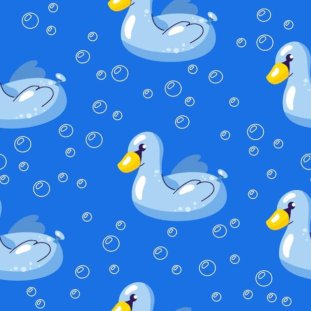 Вектор бесшовные летний узор с плавающим лебедем в воде Premium векторы