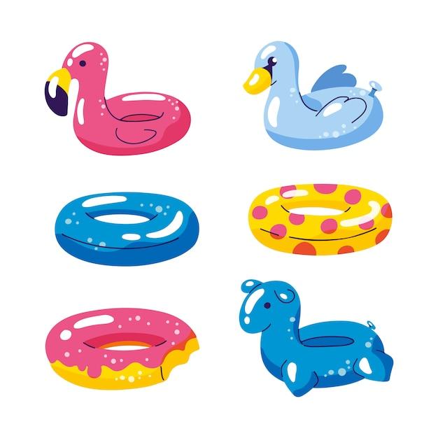 プールかわいい子供インフレータブルフロート、ベクトル分離デザイン要素 Premiumベクター
