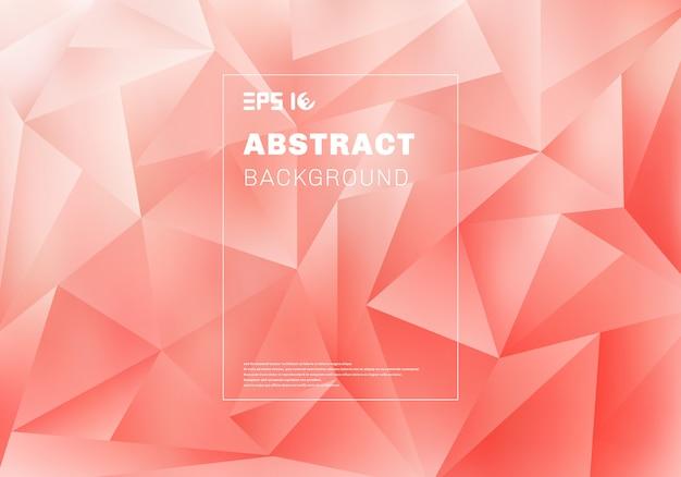 ピンクの背景に抽象的な低多角形または三角形のパターン Premiumベクター