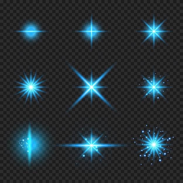 輝く青い光バースト要素の要素 Premiumベクター