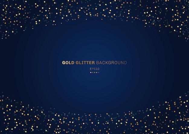 ゴールドラメお祝い青い背景 Premiumベクター