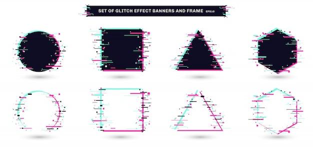 Набор геометрических кадров глюк эффект белый фон. Premium векторы