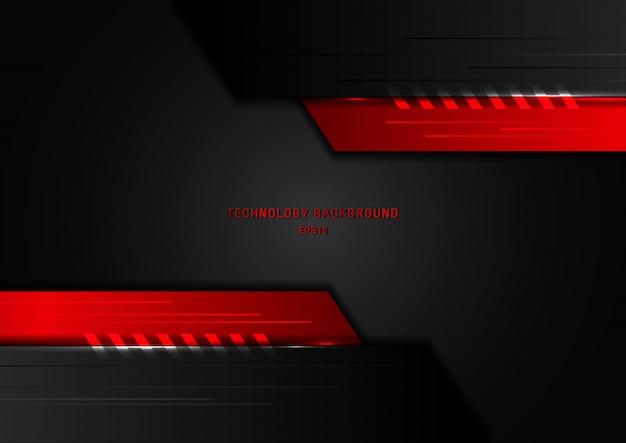 抽象的な技術の幾何学的な黒と赤 Premiumベクター