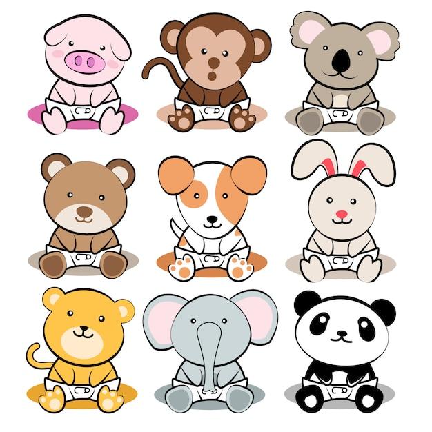 Животные младенцы Premium векторы
