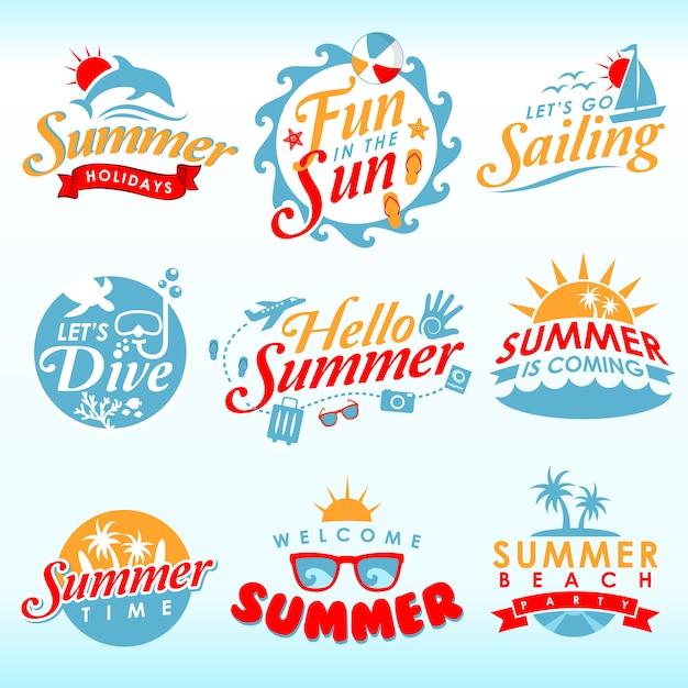 夏のアイコン Premiumベクター