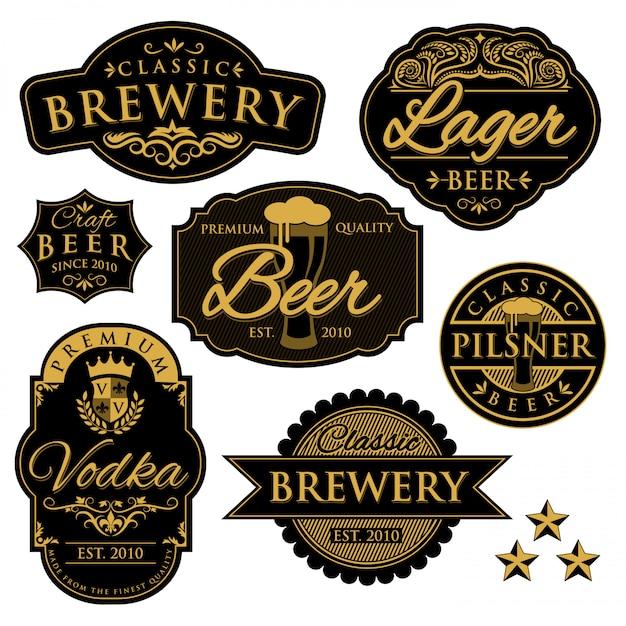 ビンテージビール醸造所ラベル Premiumベクター