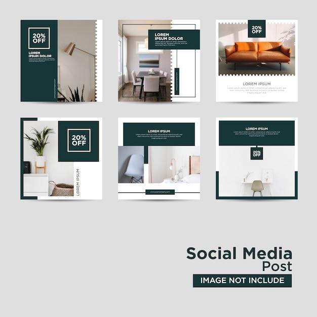 Шаблон социальных медиа мебели Premium векторы
