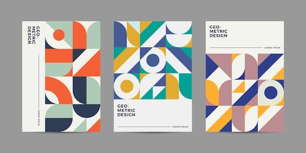 Ретро геометрический дизайн обложки Premium векторы