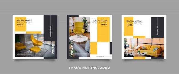 Шаблон поста в социальных сетях для мебели Premium векторы