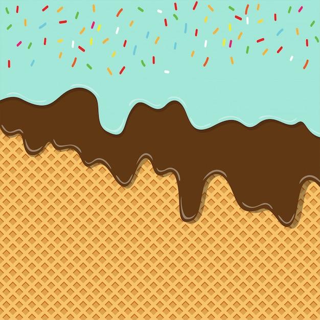 Сладкий вкус мороженого текстуры слоя растаял на вафельном фоне Premium векторы