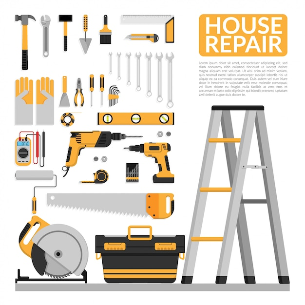 Набор инструментов для ремонта дома своими руками Premium векторы