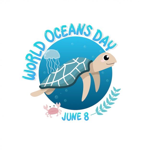 カメと世界の海の日はクラゲとサークルのカニと海で泳ぐ。 Premiumベクター