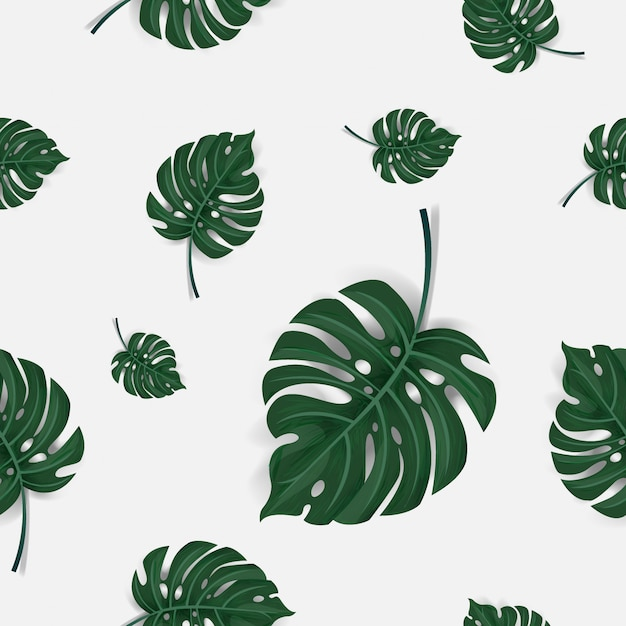 緑のヤシのパターン葉のシームレスな背景 Premiumベクター