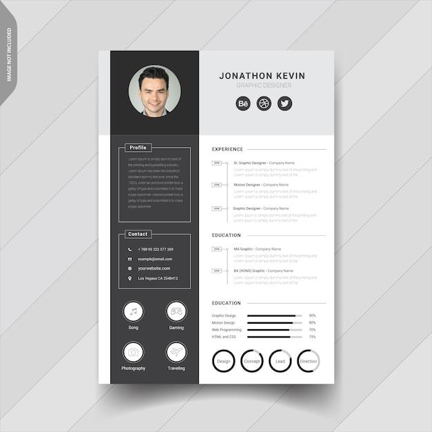 Креативный современный дизайн шаблона резюме Premium векторы