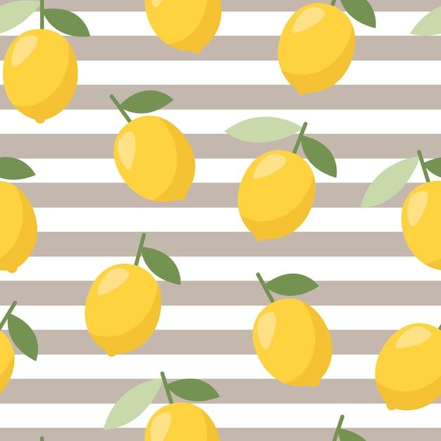 夏のレモンパターン Premiumベクター