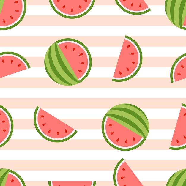 スイカのシームレスな背景。健康的な新鮮な果物 Premiumベクター