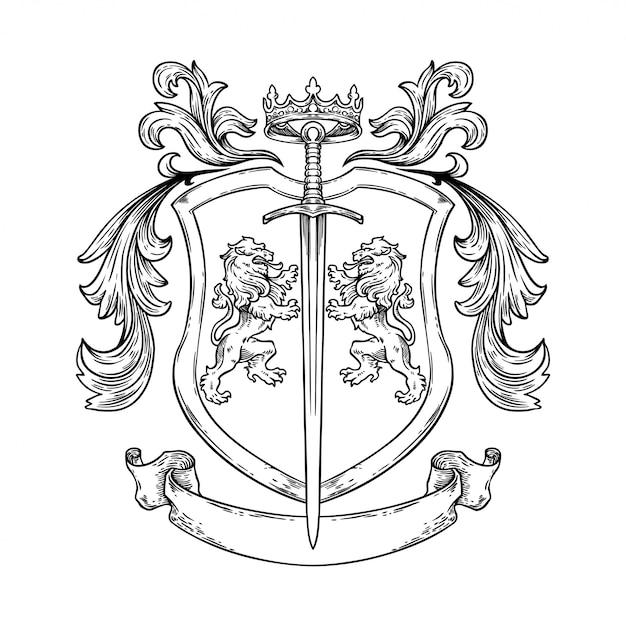 手描きイラスト騎士の紋章 Premiumベクター