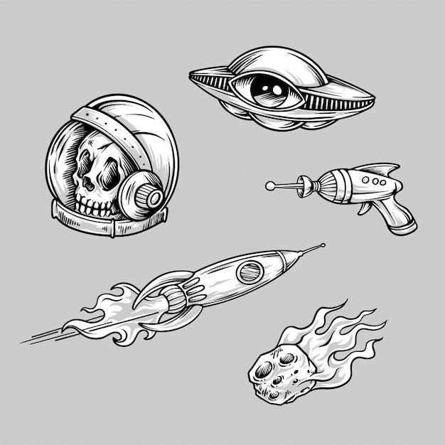 レトロなエイリアンスペースタトゥーの手描きイラスト Premiumベクター