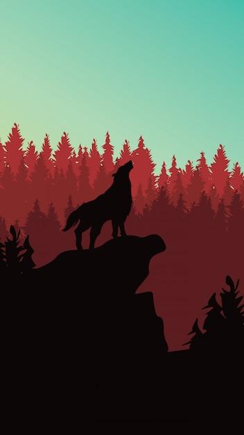 電話追跡のための松林の背景の野生のオオカミ Premiumベクター