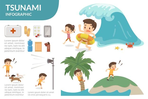津波の生存はインフォグラフィックである。 Premiumベクター