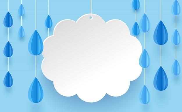 Облако и дождь люстра в стиле арт бумаги на синем фоне. Premium векторы