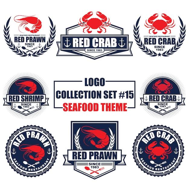 Логотип, значок, символ, значок, коллекция шаблонов дизайна этикетки с темой морепродуктов Premium векторы