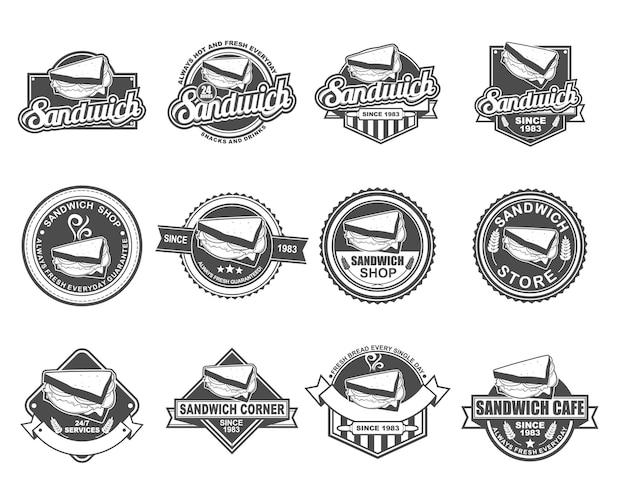 サンドイッチ店のベクトルバッジデザインコレクションセット Premiumベクター