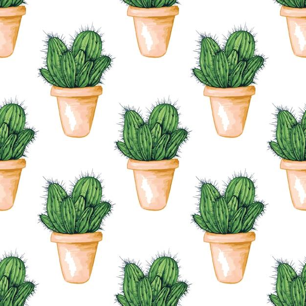 メキシコの食用サボテンまたはサボテンとのシームレスなパターン 無料ベクター