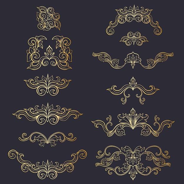 孤立したかぶと花飾りまたは金色の装飾品のセット 無料ベクター