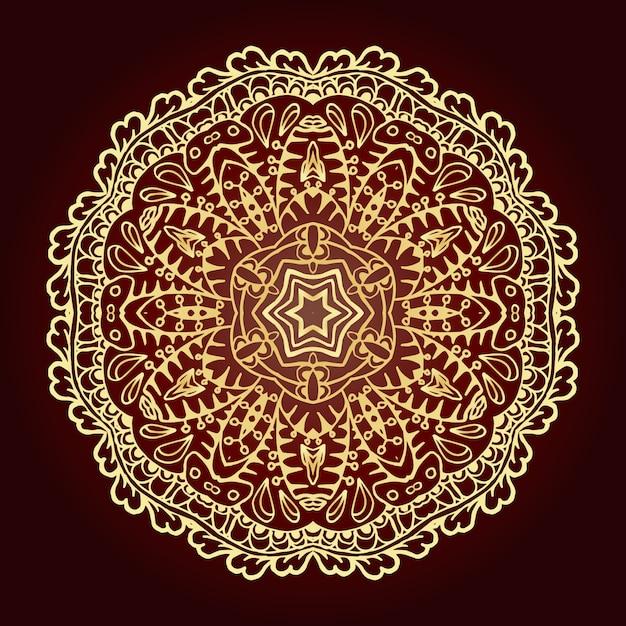 マンダラ。民族の装飾的な要素。イスラム、アラビア、インド、オスマン帝国のモチーフ。 無料ベクター