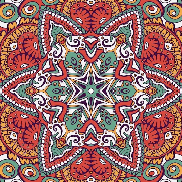 ボヘミアンスタイルのシームレスなパターンタイル。 無料ベクター