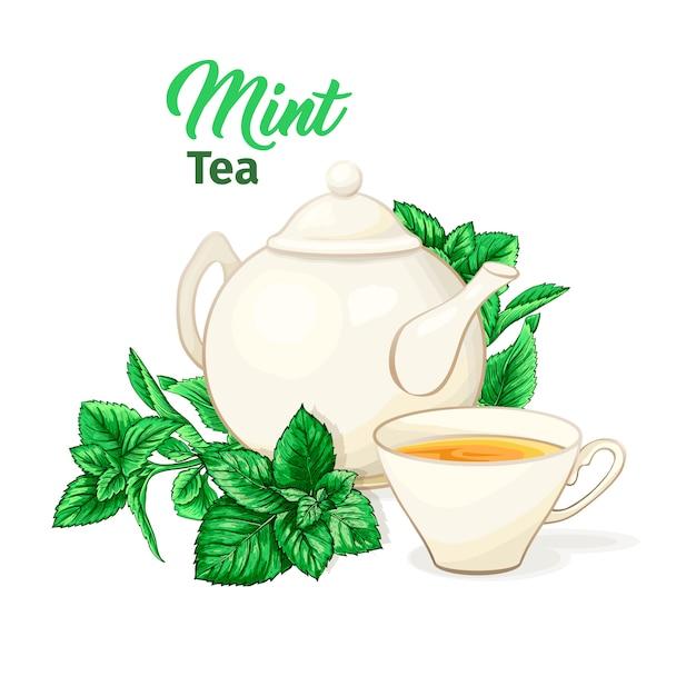 Керамический чайник и чашка чая с мятным чаем и листьями. Бесплатные векторы