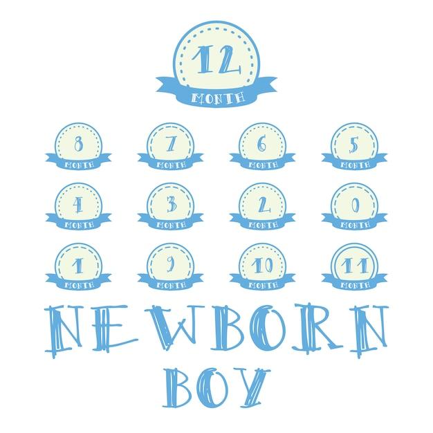 Ежемесячные наклейки с лентой для фото. мальчик этикетки для ребенка с днем рождения дизайн Бесплатные векторы